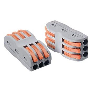 bloc de connecteurs universels 222-412B Lot de 10 mini connecteurs de c/âbles