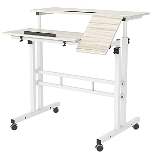 Sogeshome SH-ZS-101-2-MP - Mesa de ordenador portátil con altura ajustable para oficina en casa, color blanco