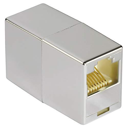 Hama CAT-6 netwerkadapter (netwerkkoppeling met 2x modular 8p8c (RJ45)-aansluiting, voor het verlengen van LAN-/thernet-kabels, afgeschermd, patchkabelverbinder, modulaire koppeling)