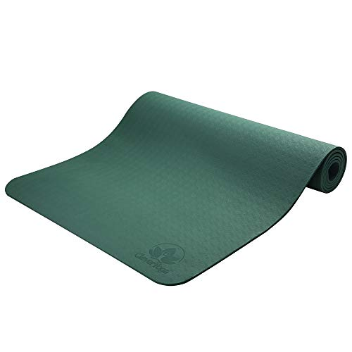 Yoga Mat Non Slip - Longer and Wider Than Other Exercise Mats - ¼-Inch Thick High Density Padding to Avoid Sore Knees During Pilates, Stretching & Toning Workouts for Men & Women (Olive Green)