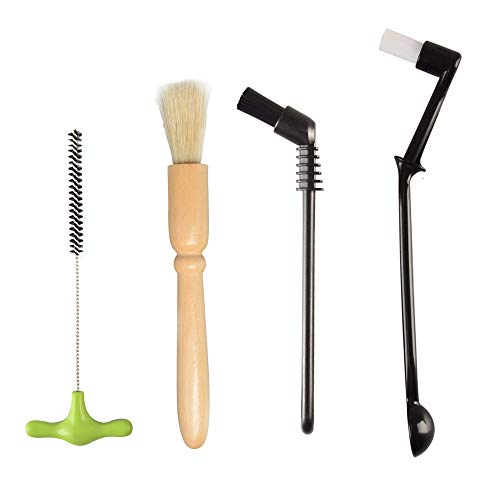 Espresso Machine Cleaning Brush Set - CAFEMASY 4 Pieces Coffee Cleaning Brush Natural Bristles Wooden Brush for Coffee Grinder and Nylon Brush for Espresso Machine Cleaning