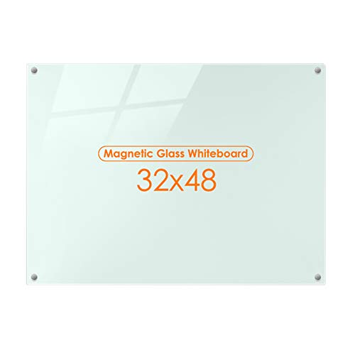 Magnetic Glass Whiteboard Dry Erase Board, 48 X 32 Magnetic Glass Board Large Whiteboards Glasses for Interactive Office Wall Frameless White Glassboard with Marker Tray