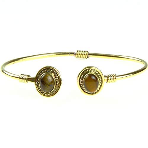 Chic-Net Messing Brass Armreif golden oval Seilmuster Tigerauge nickelfrei verstellbar antik Tribal Schmuck
