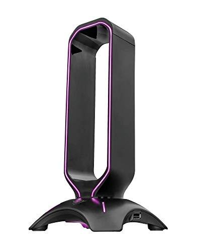 Trust Gaming GXT 265 Cintar Supporto per Cuffie RGB (Due Porte USB, Adattabilità Universale, Bordi Illuminati LED con RGB Effetto Breathing) Nero