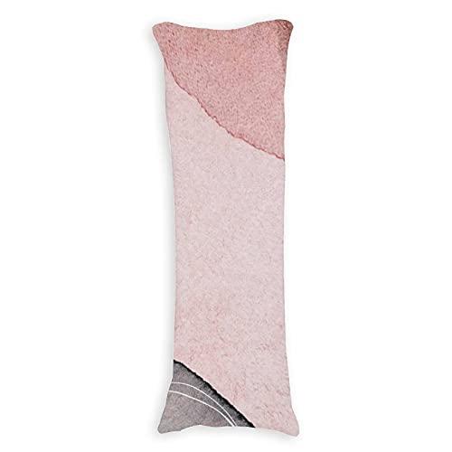 CICIDI Funda de almohada de 50 x 137 cm, color gris carne, rayas onduladas, transpirable, funda de cojín con cremallera de algodón y poliéster, funda de almohada de cuerpo largo