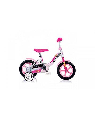 Kinderfahrrad Mädchen 10 Zoll ohne Bremsen Fester Zahnkranz Stabilitätsräder Weiß Rose