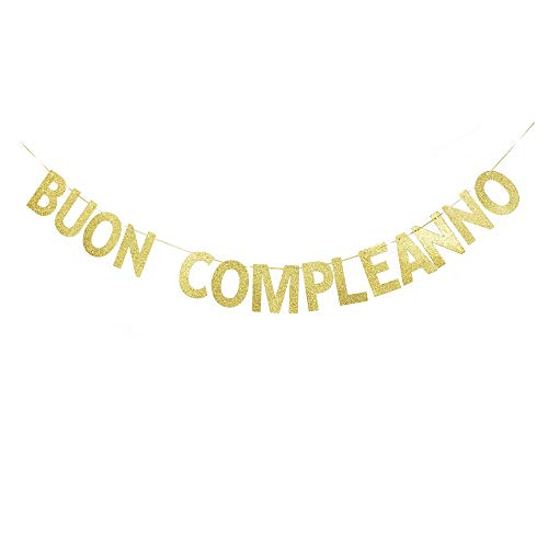 BUON Compleanno Banner, Gold Gliter Shiny Paper Italian Happy Birthday Sign Garland