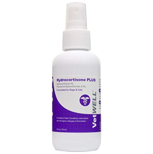 VetWELL Hydrocortisone Spray for Dogs & Cats - Itchy Skin Relief from Hot Spots, Bites, Scrapes, Irritated Skin, & Dermatitis - 4 oz Anti Itch Spray with Pramoxine
