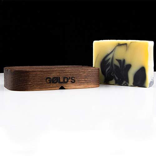GØLD´s Seifen-Set bestehend aus natürlicher Bart-Körper Seife sowie handgefertigter Seifenschale aus Nussbaumholz