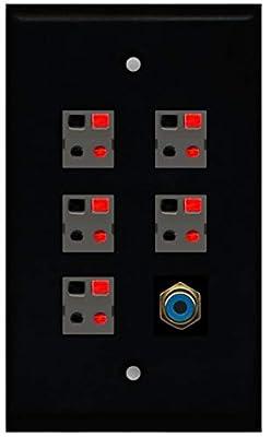 RiteAV 5 x Speaker Jacks 1 x RCA Subwoofer Port Wall Plate Single Gang