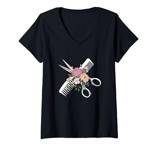 Femme Coiffeur Rétro - Salon De Coiffure T-Shirt avec Col en V