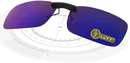 LUFF Polarized Unisex Clip on Sunglasses for Prescription Eyeglasses-Good Clip Style Sunglasses for Myopia Glasses Outdoor/Driving/Fishing (Blue) …
