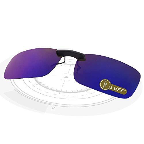 LUFF Polarizado Clip Unisex en Gafas de Sol para Anteojos Recetados-Buen Estilo de Clip Gafas de Sol para la Miopía Gafas al Aire Libre/Conducción/Pescar (Azul)