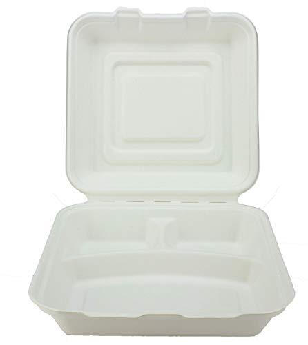 Caja de menú de 3 compartimentos de bagazo - 225 x 245 x 80