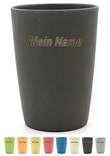 Magu Becher mit Namen personalisierter Bambus Trinkbecher - Individuelle Namensgravur Zahnputzbecher 461 - Schiefer