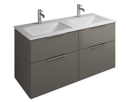 Burgbad Eqio Mineralguss-Doppelwaschtisch inklusive Waschtischunterschrank SEYW122, Breite 1220 mm, Farbe (Front/Korpus): Grau Hochglanz/Grau Glänzend, Griff G0146 - SEYW122F2010G0146