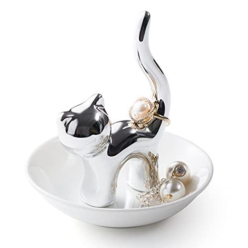 Cat Ring Holder Cat Lovers Gifts, Birthday Gift for Women Trinket Dish...