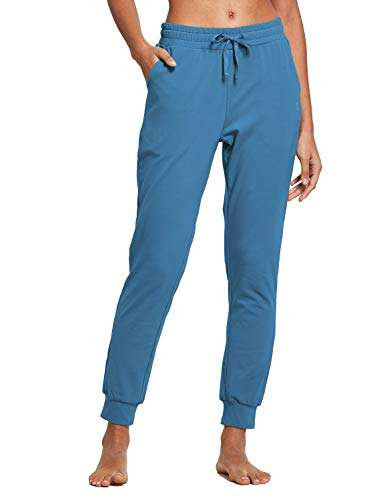 BALEAF Women's Joggers Pants Jersey Sweatpants Cotton Tapered Workout Yoga Lounge Casual Cuff Pants with Pockets Copen Blue Size L