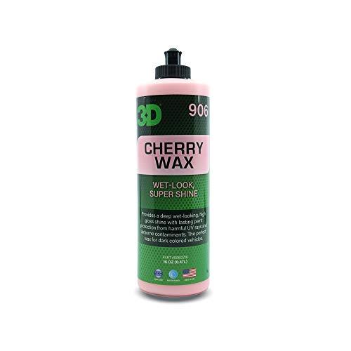 3D Cherry Wax - Deep Gloss, Wet Look Carnauba Car Wax - UV Protection for Dark Paint Colors 16oz.
