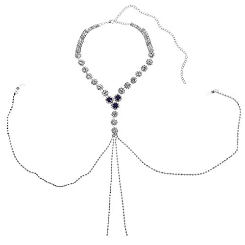 HEALLILY Anillos de Pezón Falsos para Mujer Sexy Anillo de Pezón No Piercing con Collares Cadena de Cuerpo de Lazo de Pezón Ajustable (Plata)