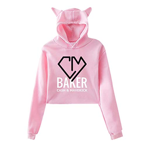 GMGMJY Cash-and-Maverick-Baker Merch Hoodie for Girls Cat Ear Hoodie for Youth Girls Pink