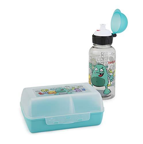 Emsa 518138 Kids Tritan/Variabolo Confezione Regalo con Botella e Clipbox, Decorazione Monster, Set 2 Pezzi, Multicolore, 28 x 28 x 18 cm