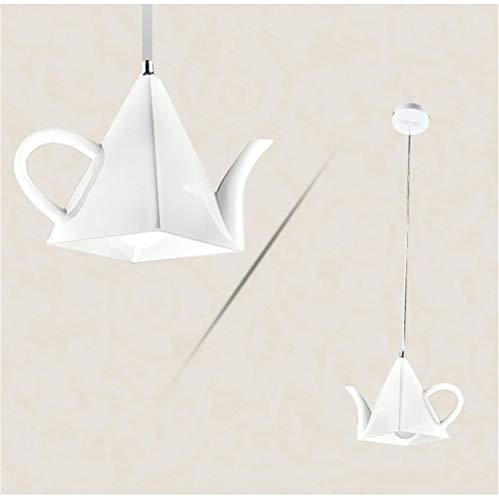 Moderne creatieve theepot vorm hanglampen voor restaurant woonkamer slaapkamer Cafe hars ijzer enkele hoofd kunst opknoping lampen Home Deco Led wit