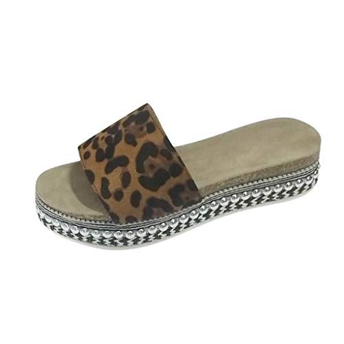 Hausschuhe Damen Sommer Freizeit Open Toe Sandalen Slip On Rivet Flats Strandschuhe (38,Khaki)