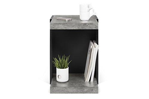 TemaHome 9000.627804 Klaus Table Basse, Aspect béton mélaminé, Noir, 38 x 45 x 55 cm