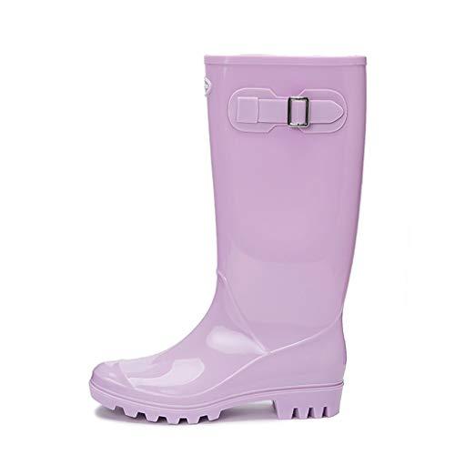 GDSSX De Las Mujeres Botas de Lluvia Impermeable del jardín Zapatos Antideslizante Resistente al Desgaste Botas de Lluvia con Hebilla Diseño Outdoor (Color : Romantic Purple, Size : 36)