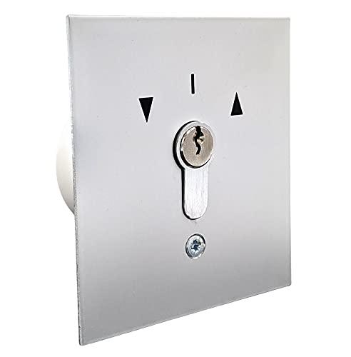 geba US 1-2T/1 Unterputz Einbau Schlüsselschalter Schlüsseltaster mit DIN Profilhalbzylinder 2-Taster 3 Schlüssel Aluminium Frontplatte Silber einbruchhemmend IP54 Garagentor Tür Tor Schranke