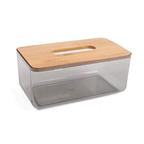 Tenedor de cubierta de caja de tejido transparente con tapa de madera, caja de almacenamiento de tejidos faciales simplicidad nórdicos, toallas de papel modernas Organizador dispensador for baño, coci