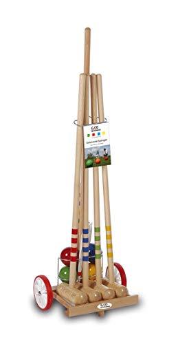 GICO Qualitäts Krocketwagen/Krocket/Croquet für 4 Spieler aus Holz im Transportwagen. Der Outdoor/Garten Spielspaß mit Qualitätsware aus Massivholz für die ganze Familie -Made in EU-3110