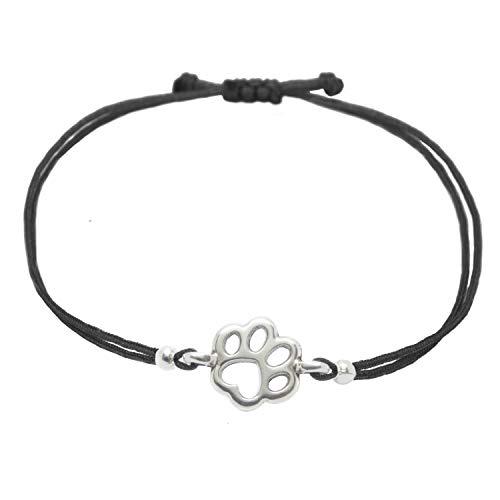 Pfoten Armband Schwarz von SelfmadeJewelry - Handmade & Größenverstellbares Armkettchen mit Tierpfote Tatzen Anhänger Inkl. Geschenkverpackung (Silber - Schwarz)