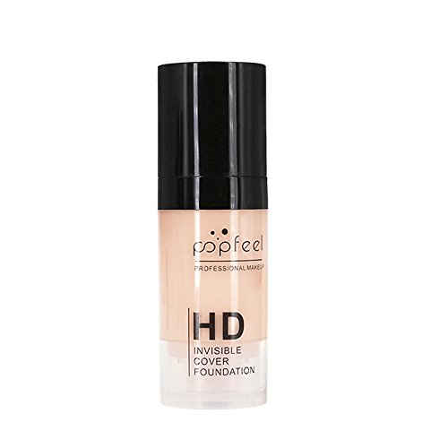 HUHU833 POPFEEL Fond de Teint Couvrant liquide Foundation Waterproof anti-cernes Soft Hydratant BB Cream 30ml 10 Couleur (H)