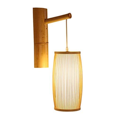 DINGYGJ Lámpara de pared de bambú de viento retro de la nación, lámpara colgante de tejido de sombras Luces LED de mimbre de mimbre DIY, dormitorio comedor sala de estar oficina restaurante bar café c