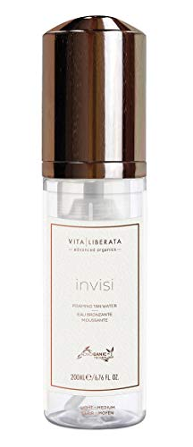 VITA LIBERATA Advanced Organics invisi Foaming Tan Water | Organic botanicals to hydrate skin & provide a perfect tan | Fast drying properties for tanning on the go | Shade: Light-Medium | 6.76 Fl Oz