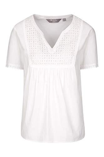Mountain Warehouse Top brodé Paris pour Femme - 100% Coton - Vêtement d'été léger, Respirant et Facile à Entretenir - Idéal au Printemps pour Voyages et Marche Blanc 48