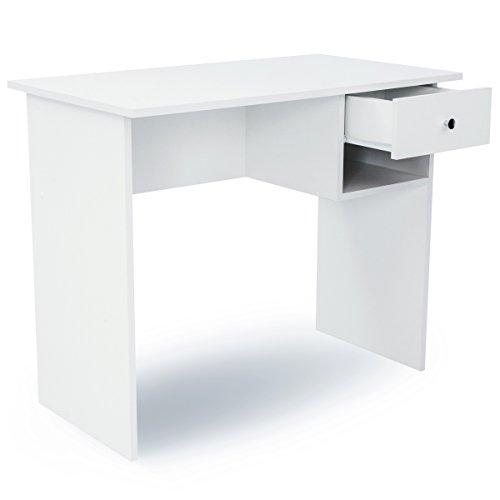 COMIFORT Schreibtisch - Robuster Praktischer Schreibtisch in Modernem und Minimalistischem Stil, Viel Stauraum, 1 Schublade und 1 Fach, Farbe: Weiß