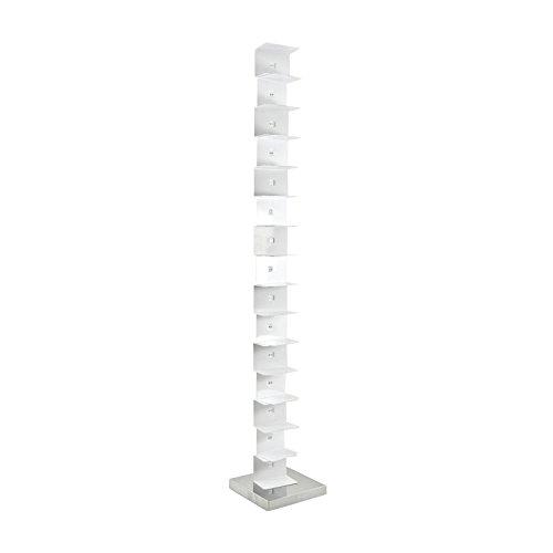 Opinion Ciatti Ptolomeo Büchersäule 215, weiß Fuß Edelstahl poliert 35 x 35 x 215 cm
