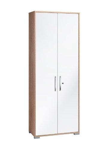 MAJA-Möbel 1232 2556 Aktenregal mit Türen, Sonoma-Eiche-Nachbildung - weiß Hochglanz, Abmessungen BxHxT: 80 x 214,5 x 40 cm