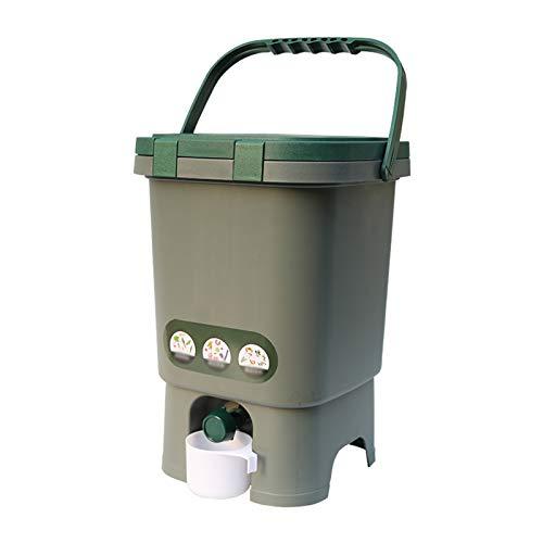 Juego de cubo de basura de residuos de alimentos de sello de cocina,Cubo de eliminación de basura de plástico portátil multifuncional,Barril de fermentación para residuos de cocina y compostaje gris