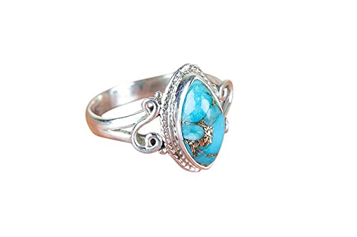 Blue Copper Turquoise Max 69% OFF Silver Free Shipping Cheap Bargain Gift Promise Ring
