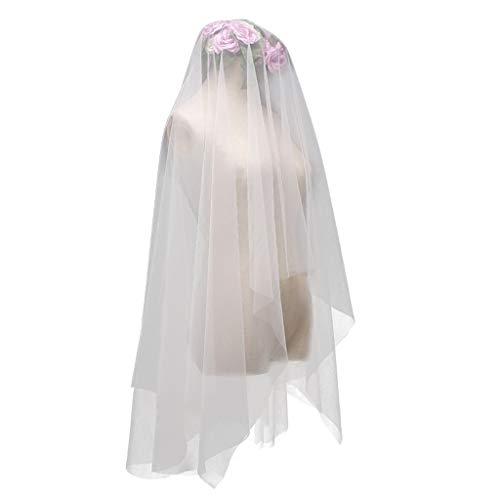 MYhose Minimalist Simple Style 2 Tier Doppelschicht Damen Mesh Fingerspitzenlänge Hochzeitsschleier Plain Plissee Brautschleier mit Kamm