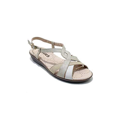 24 Horas 22523 - Sandalias de Mujer en Tiras de Piel de Colores Crema, Ocre y Blanco Ultra Ligeras Cierre en Hebilla - 36, Beix