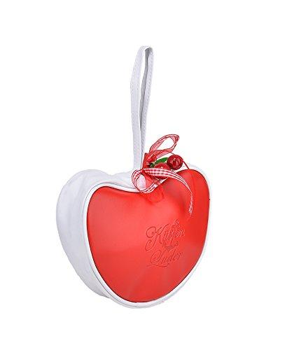 Cute KÜSTENLUDER Logo GINGHAM CHERRY Heart Bag – Rot Rockabilly KT299 - 2