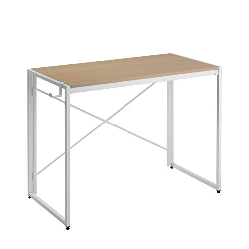 Folding Table Computer Writing Desk - [No Tools Required] Modern Industrial Laptop Work Desks, Simple Portable Foldable Student Study Desk, for Home/Office/Bedrooms/Living Room (47 inch, White)