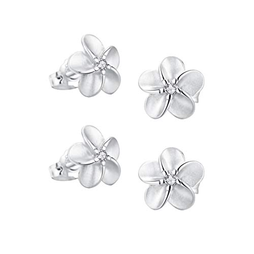 SILVERAGE Stud Earring Sterling Silver Flower Earrings For Women With AAA Cubic Zirconia (10mm(0.39in)-2 pieces)