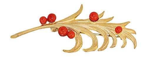 Hobra-Gold Goldbrosche 750 mit Korallen dekorative Brosche Gold 18 Karat Korallenbrosche