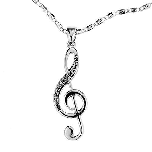 Embolden Jewelry Musiknoten-Halskette [Silber graviert] Music Is What Feelings Sound Like [Violinschlüssel-Charm-Anhänger ] für junge Musiker